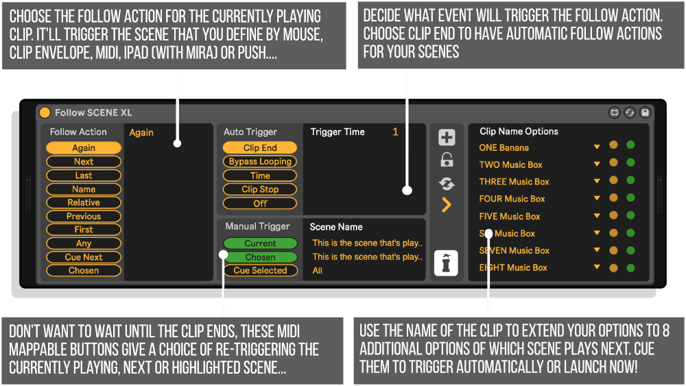 Follow SCENE XL MaxforLive Device Infographic